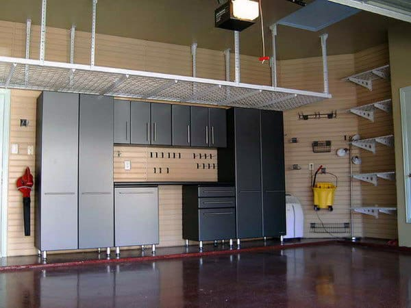 Ceiling Storage Rack Ideas For Garage With Cabinets