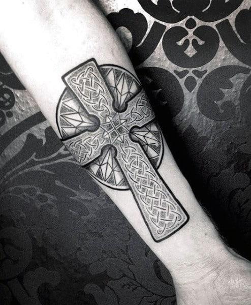 Celtic Cross Tattoo On Mans Inner Forearm