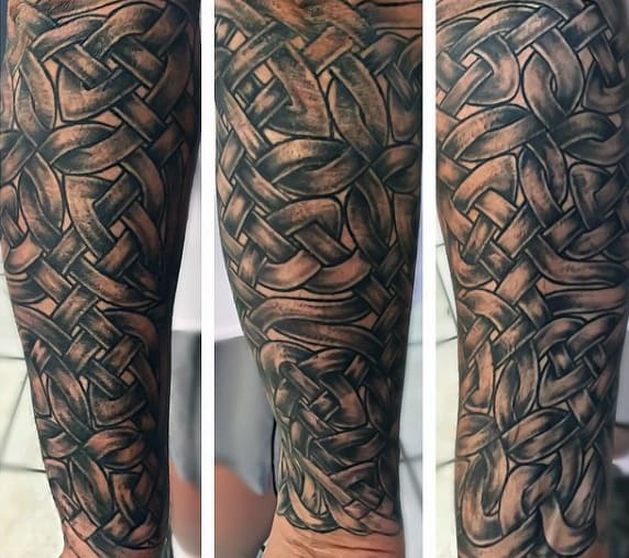 Full Sleeve Celtic Cross Tattoos For Men