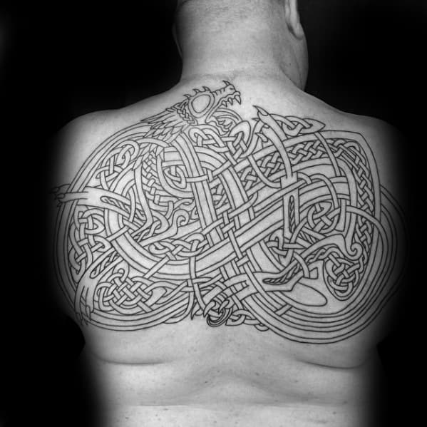 Celtic Dragon Black Ink Outline Back Tattoos For Men