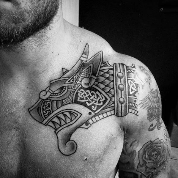 Celtic Dragon Head Guys Upper Chest Front Of Shoulder Tattoo