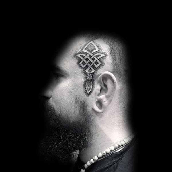 Celtic Face Tattoos For Men With Negative Space Design