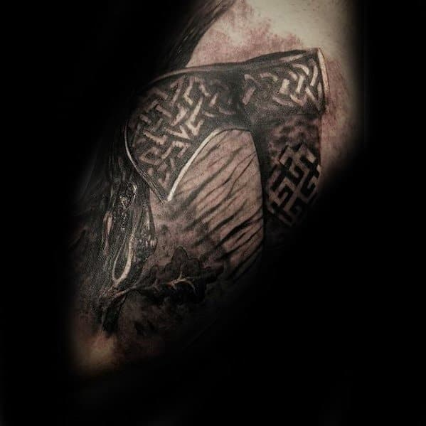 Celtic Knot 3d Arm Mens Tattoo With Axe Design