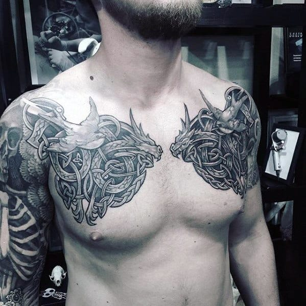 Celtic Knot Mens Upper Chest Dragon Tattoo Ideas