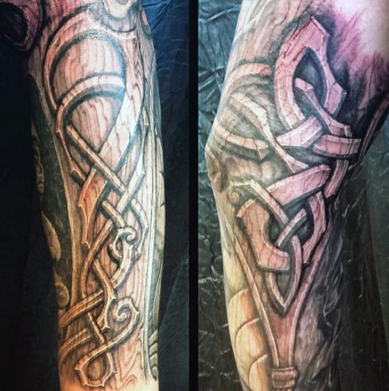 Celtic Knot Tribal Guys Wood Carving Tattoo Sleeve
