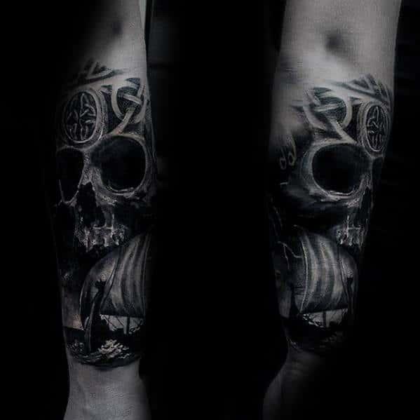 Celtic Knot With Skull Viking Mens 3d Forearm Tattoo