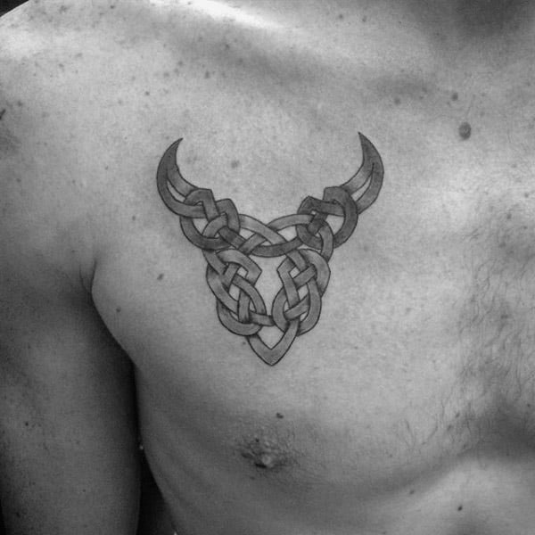 Celtic Knots Taurus Zodiac Symbol Bull Mens Upper Chest Tattoo