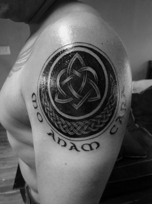 Celtic Male Triquetra Blackwork Upper Arm Tattoo