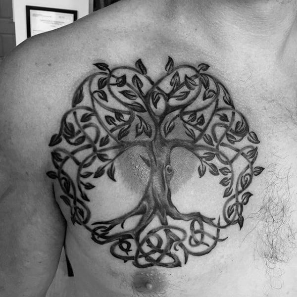 Celtic Mens Knot Tree Roots Chest Tattoo
