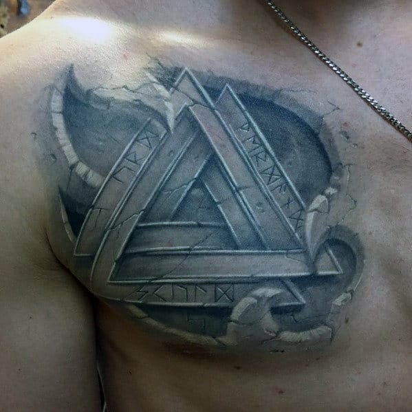 Celtic Mens Norse 3d Upper Chest Tattoo