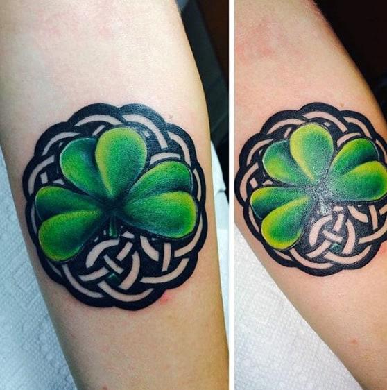Celtic Symbol Shamrock Mens Inner Forearm Tattoo