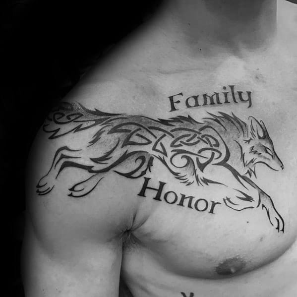 Celtic Wolf Male Tattoos