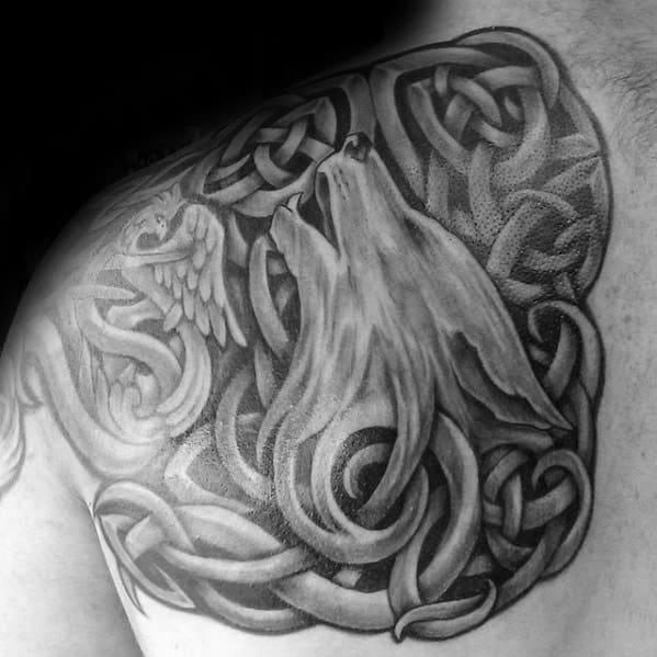 Celtic Wolf Mens Tattoo Ideas