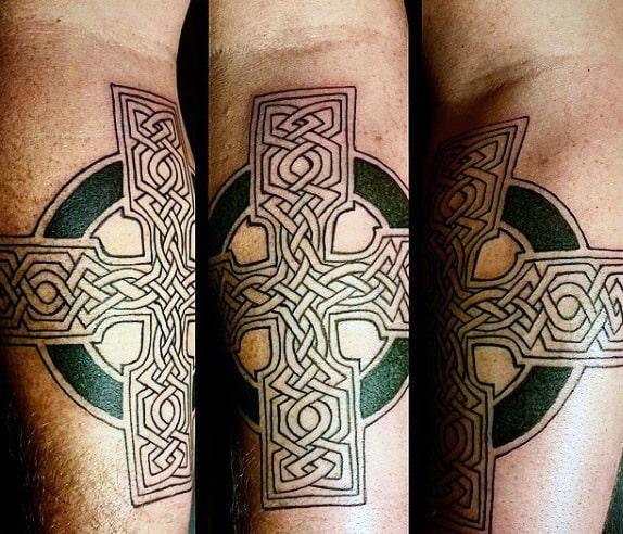 Celtics Cross Tattoo On Gentleman On Inner Forearm
