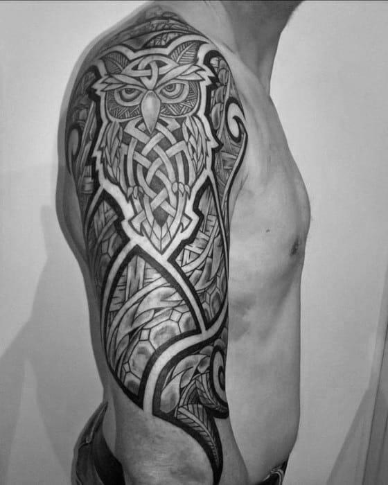 Celtric Tribal Owl Mens Half Sleeve Tattoos