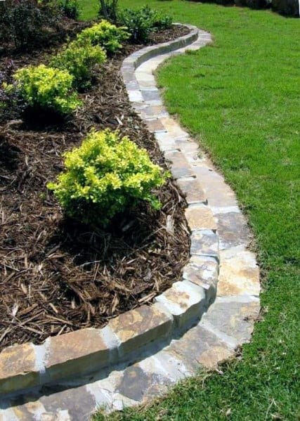 Cement Stone Edging Exterior Ideas For Garden Bed
