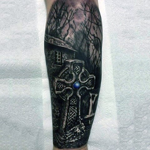 Cemetery Woods 3d Celtic Cross Leg Sleeve Tattoo