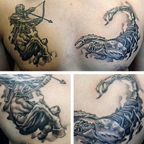 Centaur Firing Arrow At Scorpion Mens Scorpio Chest Tattoos