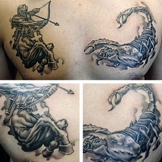 Centaur Firing Arrow At Scorpion Mens Scorpio Chest Tattoos