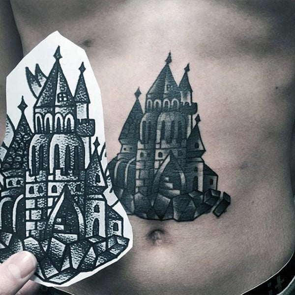 Center Chest Medieval Castle Tattoo Design