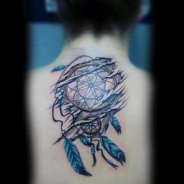 Center Of Back Dreamcatcher With Blue Feathers Tattoo On Man