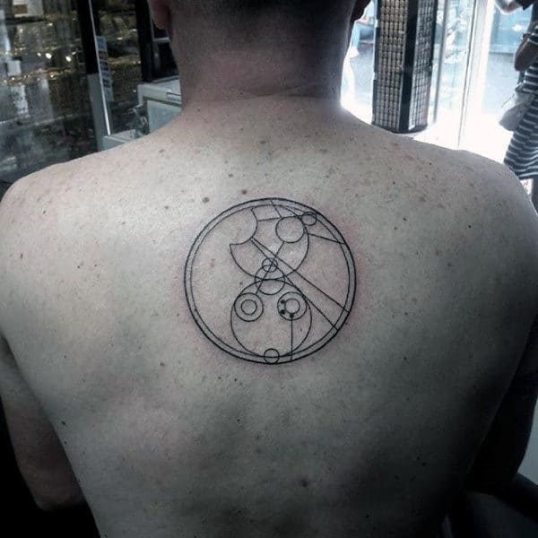 Center Of Back Guys Gallifreyan Circle Tattoo