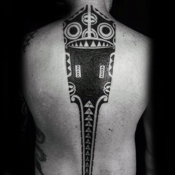 Center Of Back Spine Tribal Mens Tattoo Design Ideas