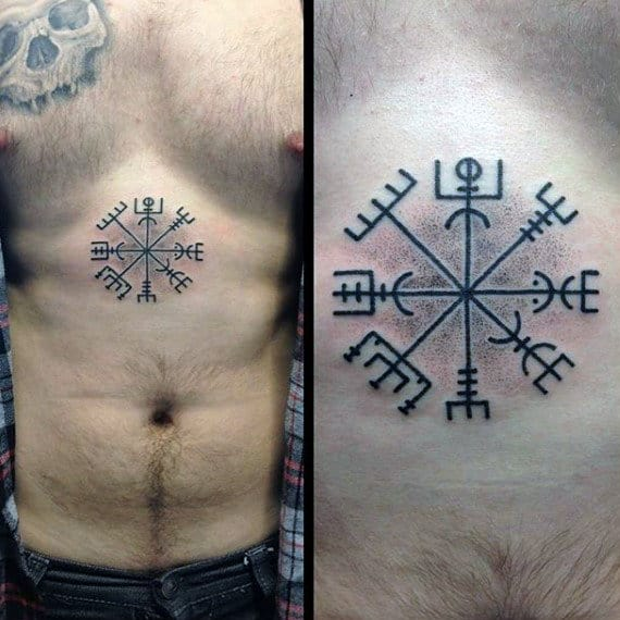 Center Of Cester Rune Symbol Male Tattoo Ideas