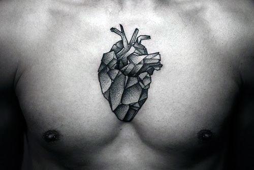 Center Of Chest Geometric Heart Tattoo On Gentleman