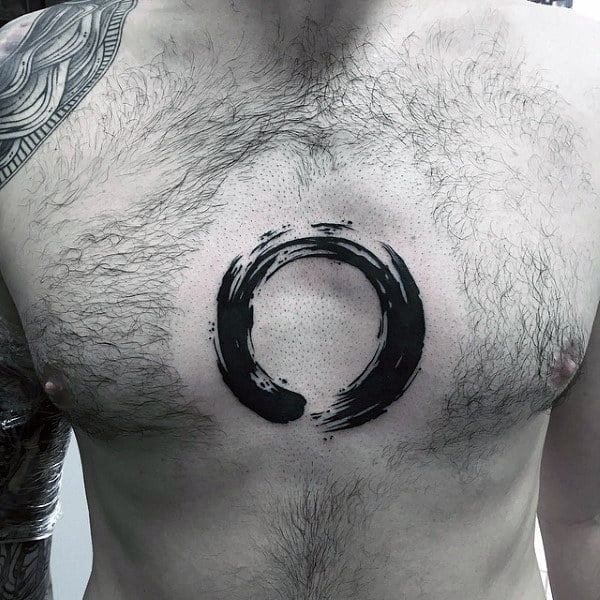 Center Of Chest Mens Brush Stroke Circle Tattoo Design