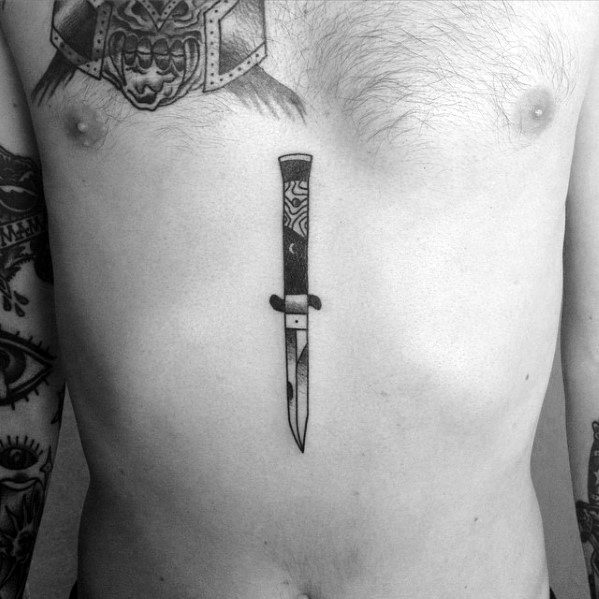 Center Of Chest Mens Cool Switchblade Tattoo Ideas