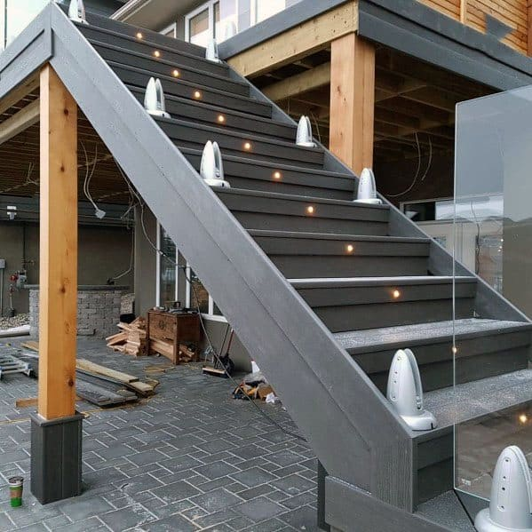 Center Of Stairs Exterior Deck Lighting Design