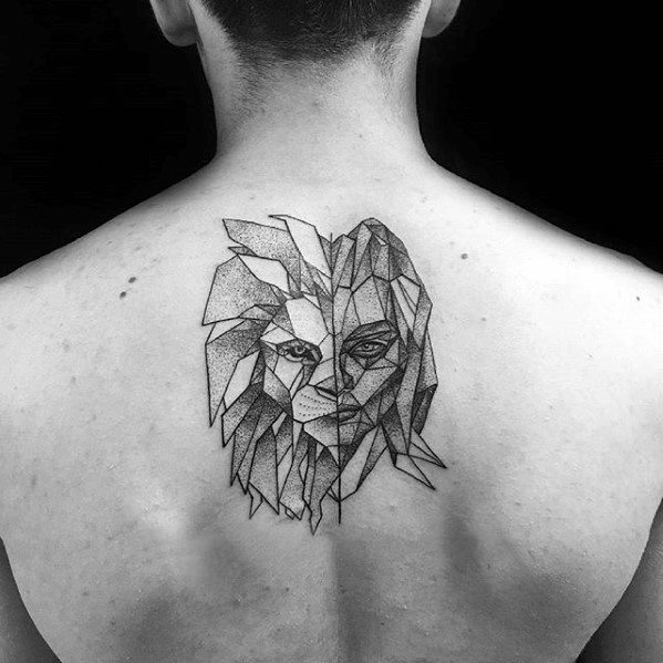 Center Of Upper Back Geometric Lion Tattoo Designs For Guys