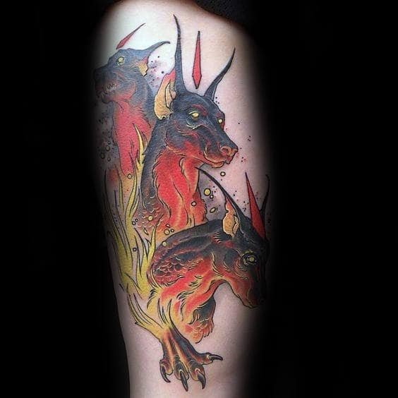 Cerberus Flaming Male Arm Tattoo Ideas