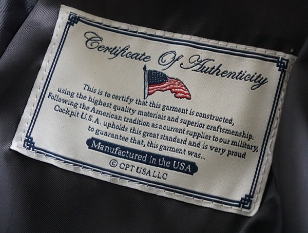 Certificate Of Authenticity Cockpit Usa G 1 Flight Jacket Made In America