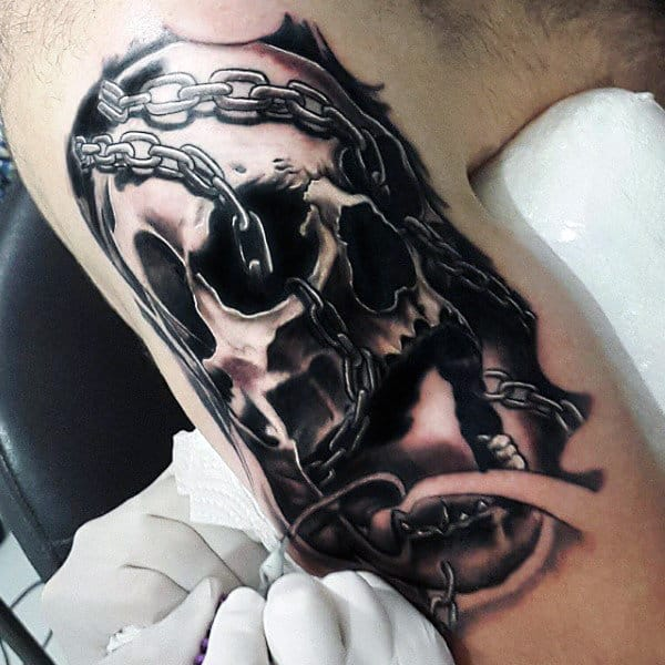 Chain Bicep Tattoo For Males
