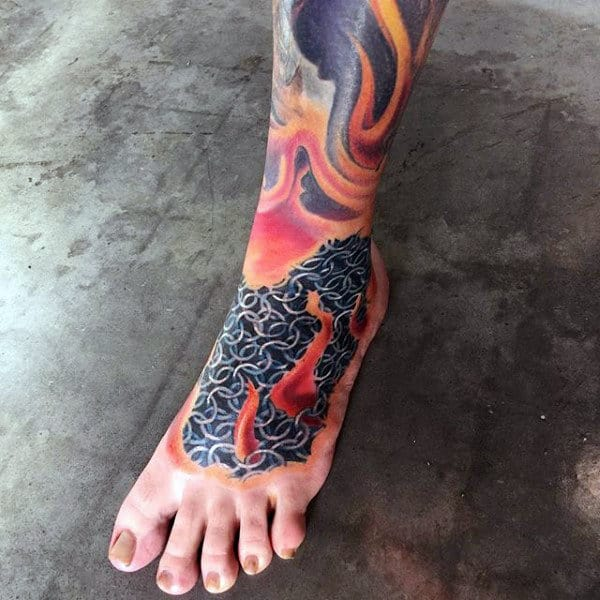 Chain Mail Armor Mens Foot Tattoo With Fire Flames