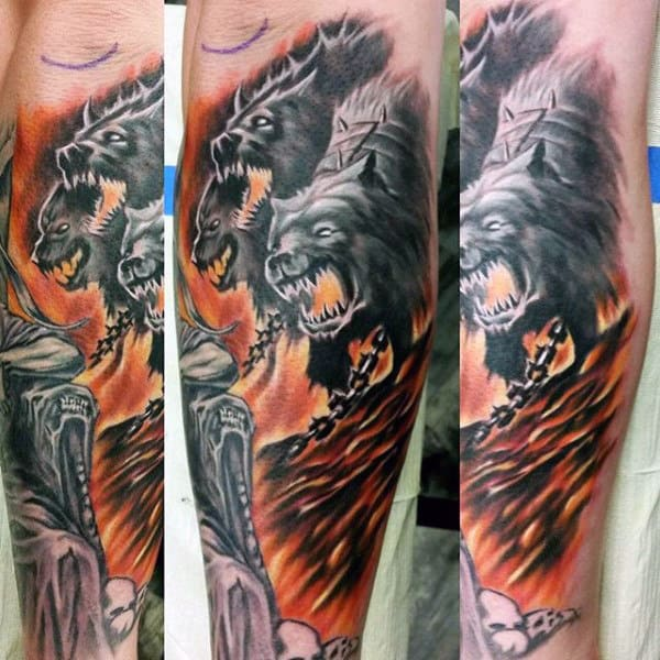Chained Cerberus Mens Forearm Tattoo Designs