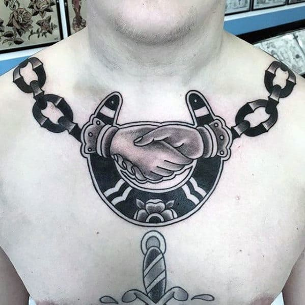 Chains With Hands Shaking And Horseshoe Guys Traditional Upper Chest Tattoo