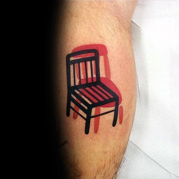 Chair In Red And Black Ink Guys Small Creative Leg Calf Tattoo