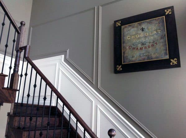 Chair Rail Millwork Trim Ideas Grey And White Staircase