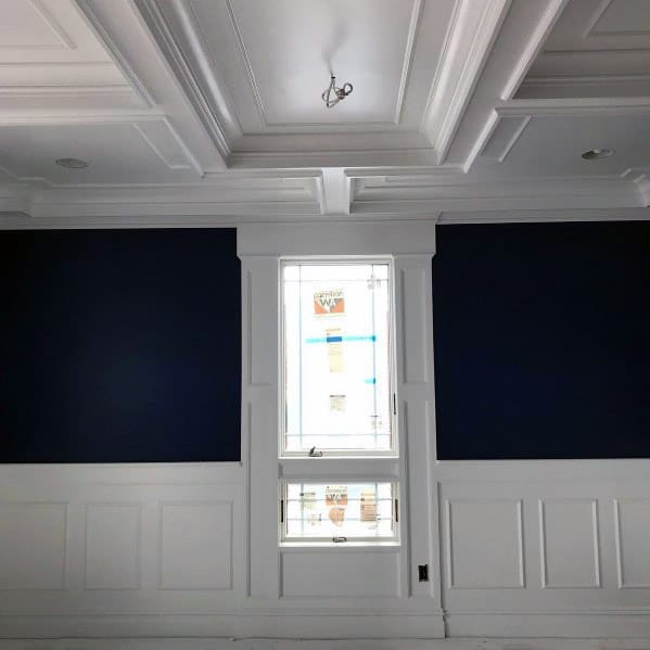 Chair Rail Molding With Coffered Ceiling Dining Room Ideas