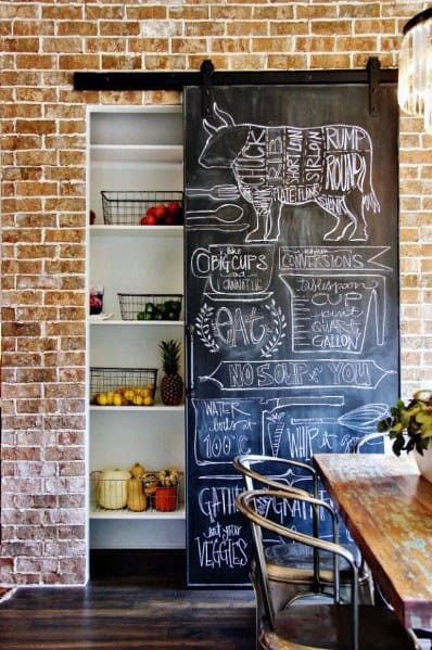 Chalkboard Painted Home Interior Designs Kitchen Pantry Door