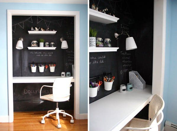 Chalkboard Painted Wall Interior Closet Office Design Idea Inspiration