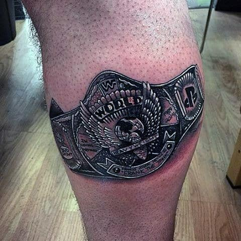 Champion Belt Leg Calf Wrestling Tattoos Guys