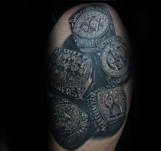 Championship Football Rings Mens Arm Tattoos