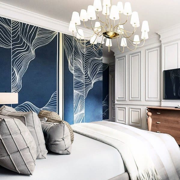 wallpaper blue bedroom ideas