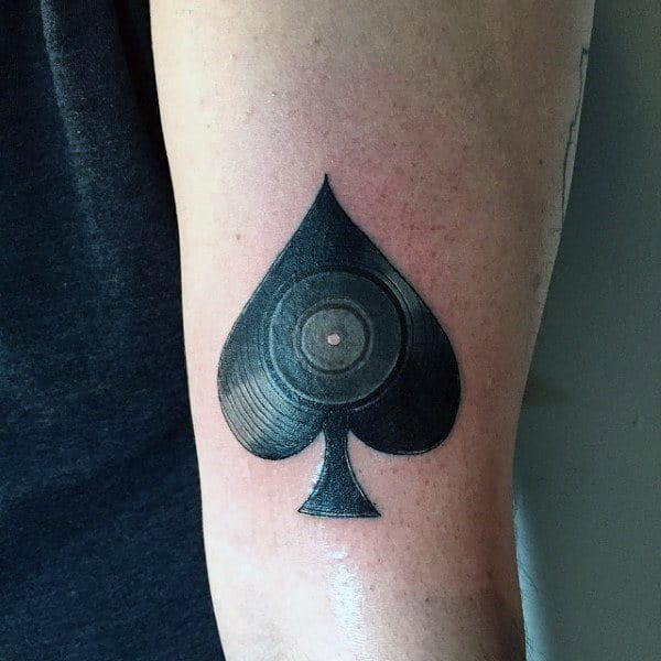 Charcoal Black Ace Tattoo With Dart Board Tattoo Mens Arms