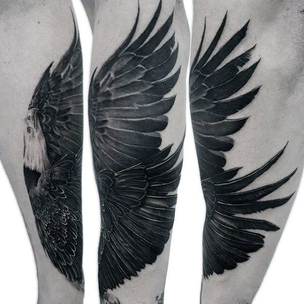Charcoal Black Feathered Bald Eagle Tattoo Male Forearms