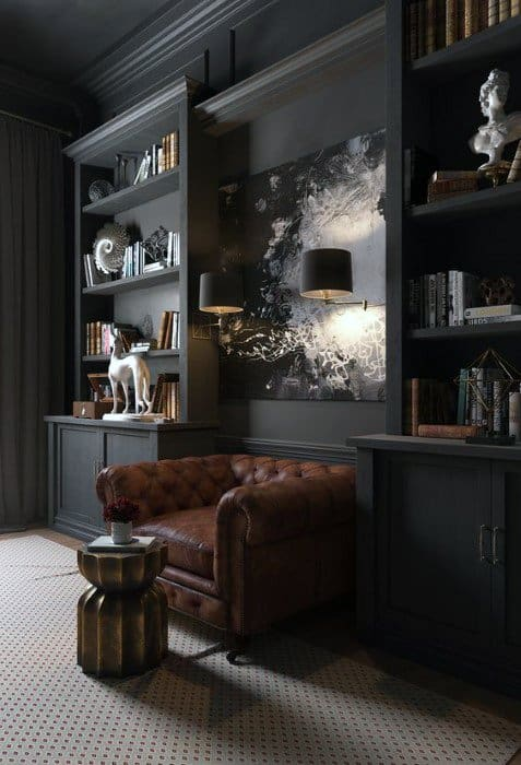 Charcoal Grey Painted Walls Cool Man Cave Ideas